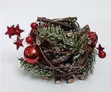 Weihnachtswindlicht Windlichtglas aus Holz mit Naturmaterialien hergestellt in Handarbeit Weihnachtliche Tischdeko eine schöne Adventsdekoration und eine gute Geschenkidee für Weihnachten