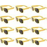 caf907bb920007 OAONNEA 12 Paare Lustige Neon Party Sonnenbrillen Set fur Kinder Damen  Sommer 80er Uv400 (12Gelb