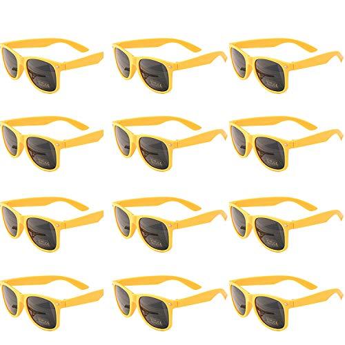 OAONNEA 12 Paare Lustige Neon Party Sonnenbrillen Set fur Kinder Damen Sommer 80er Uv400 (12Gelb)