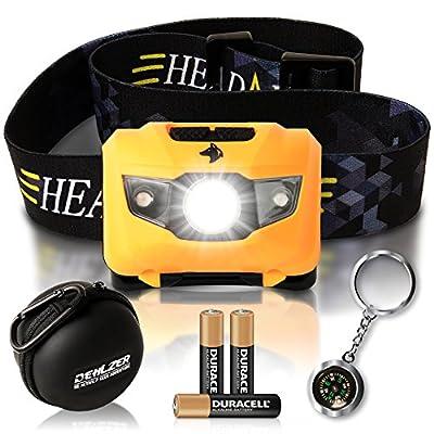 LED Stirnlampe inklusive Batterien - Wasserdichte Stirnlampe für Camping & Arbeit - 5 Einstellungen mit weißem und rotem Licht - GRATIS Etui & Kompass-Schlüsselanhänger - von Dehlzer