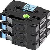 3x Schriftband für Brother TZe-531 / TZ-531   3x Schwarz auf Blau / 12mm x 8m   geeignet für Brother P-Touch 1000W 1010 1090 1830VP 2030VP 2100VP 2430PC 2470 2730VP 7100 VP7600VP H100R H300 D200VP und andere P-Touch Geräte