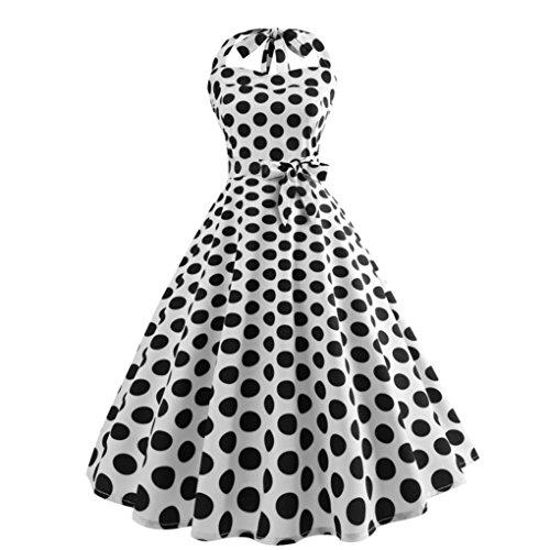 Malloom_Robes de soirée Cocktail Style Halter années 50 à Pois Vintage 1950's Audrey Hepburn pin-up