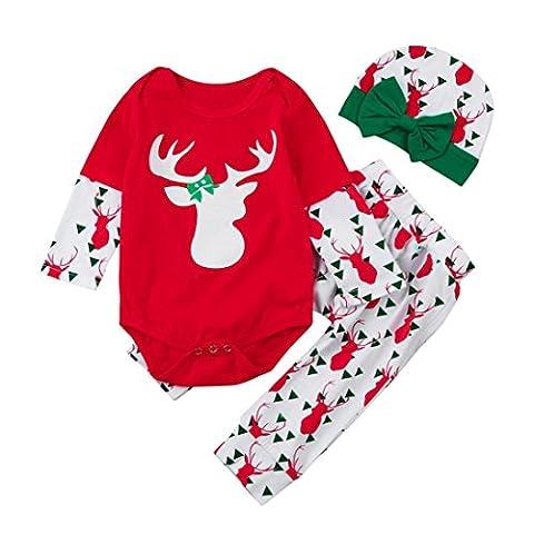 Xshuai Neuer Entwurfs-Säuglings Baby jungen-Mädchen-Rotwild-Spielanzug Tops + Hosen-Hut Frohe Weihnacht (18 Monate, Rot)