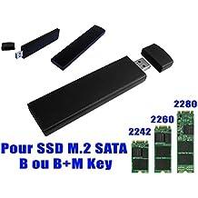 Kalea-Informatique-Llave USB alargada para SSD M2a USB 3(USB 3.0SuperSpeed) para SSD M2SATA con formato 223022422280, aluminio, color negro