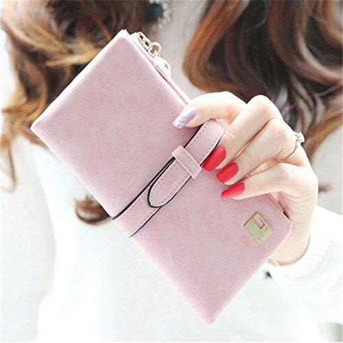 TRT New Rushed Lady Bag Women Wallets Purse Matte Drawstring Nubuck Handbags Leather Zipper Long Two Fold Clutch Card Holder 05 Pink