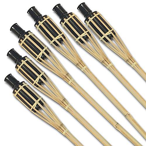 PartyMarty Risparmio Set: Enorme XXL bambù FIACCOLE da Giardino 120cm per Una suggestiva Illuminazione–Party Giardino Esterno