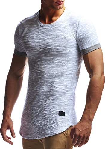 LEIF NELSON Herren Oversize T-Shirt Sweatshirt Hoodie Hoody LN6324; Größe L, Grau
