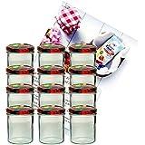 12er Set Sturzglas 350 ml Marmeladenglas Einmachglas Einweckglas To 82 Obst Deckel incl. Diamant-Zucker Gelierzauber Rezeptheft