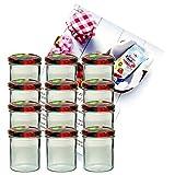 MamboCat 12er Set Sturzglas 350 ml Marmeladenglas Einmachglas Einweckglas to 82 Obst Deckel Incl. Diamant-Zucker Gelierzauber Rezeptheft