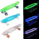 AIMADO Jungen und Mädchen Mini Cruiser Skateboard voll leuchten Deck LED Flash erzeugen Blasten helle Farben Skateboard Kit (Blau)