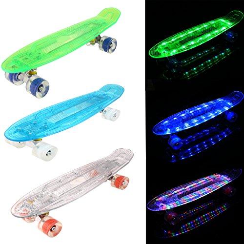 AIMADO Jungen und Mädchen Mini Cruiser Skateboard voll leuchten Deck LED Flash erzeugen Blasten helle Farben Skateboard Kit (Blau) (Skateboard Voller)