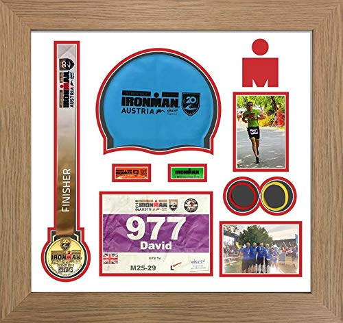 Kwik Picture Framing Ltd Ironman Austria Triathlon Marathon, Running Medal Swimming caps Display Frame WhitevMount - Oak Frame