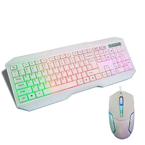Wang tastiera cablata mouse set tastiera cordless ergonomica 2.4g mouse retroilluminazione colorata combo per pc desktop home office (nero, bianco) (colore : bianca)
