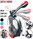 X-Lounger Schnorchelmaske Tauchmaske Vollmaske faltbare Schnorchelausrüstung mit abnehmbarer GoPro-Halterung und Earplugs 180°Sichtfeld Anti-Fog für Erwachsene und Kinder