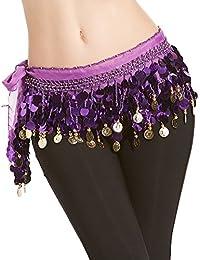 VENI MASEE profesional multi-Row lentejuelas danza del vientre cinturón con oro color de oro y perlas, colores distintos, Belly Dance