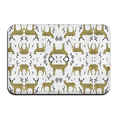 WITHY Non-Slip Bath Mat, Bathroom Rug Mat, Deer Triangle Tri Geometric Geo Deer Golden Olive Senior Design Area Rugs for Living Room(19.6X31.4 inch,50X80cm) - Golden Eagle Deer