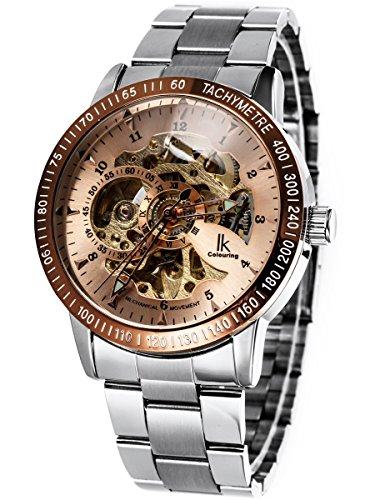 Alienwork IK mechanische Automatik Armbanduhr Skelett Automatikuhr Uhr braun silber Edelstahl 98226-09