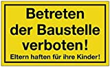 Hinweiszeichen Hinweisschild B 250 x H 150 mm -Betreten der Baustelle verboten-