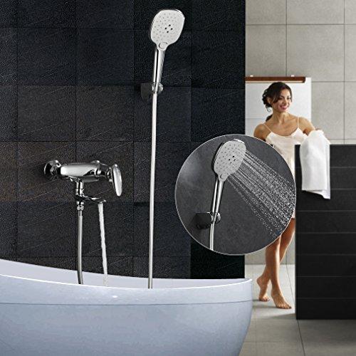 ubeegol Badewannenarmatur Dusche Mischer Mischbatterie Badewanne Wasserhahn Wannenbatterie Wannenarmatur Duscharmatur Duschsystem Brausegarnitur Brauseset Wandhalterung mit Handbrause Duschset