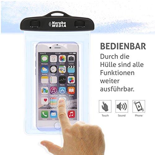 Naruba Media Waterproof | wasserdichte Handyhülle für alle Smartphones bis zu 6 Zoll |19,5 x 11,5 x 1,2 cm| inklusive Gurt und Schnellverschluss |Blau Blau