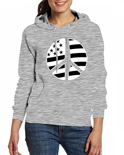 American Flag Peace Sign Womens Hoodie Fleece Custom Sweartshirts Grey