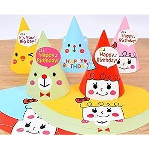 UChic 8 STÜCKE Heiße Verkäufe Cartoon-Muster Bunte Nette Geburtstagsfeier Kappe Hut spitzen Hüte Anzieh Für Erwachsene Mädchen Jungen Party Festival Feier Dekorationen Mix Muster