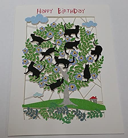 Fait à la main Cartes de découpe laser --- Joyeux anniversaire (Chats) --- présentée par Sterling Effectz
