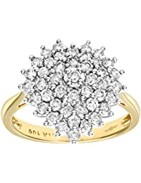 aa46a8062 Naava Women's 18 ct Yellow Gold 1 ct Diamond Heart Shaped Cluster Ring