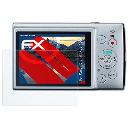 für Canon Digital IXUS 155 / PowerShot ELPH 150 IS Folie - 3 x FX-Shock-Clear stoßabsorbierende ultraklare Displayschutzfolie (Canon Elph 150)