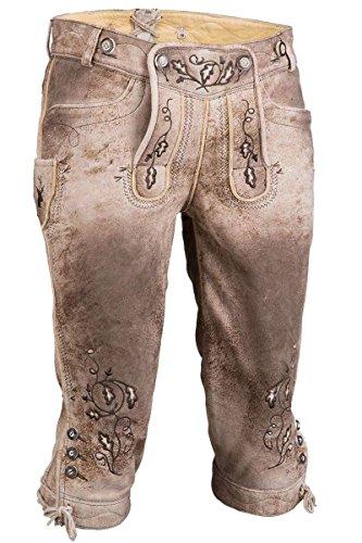 Herren Spieth & Wensky Kniebundlederhose mit Träger hellbraun  geäscht sand, 58