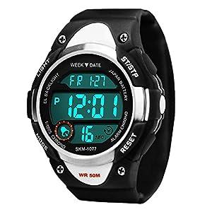 Kinder Sports Digital Uhren für Jungen, 5 ATM Wasserdicht Outdoor Sport Uhr mit Alarm/LED-Licht/Datum/Stoppuhr