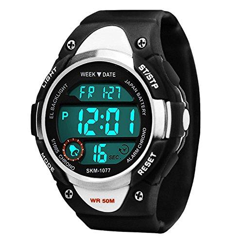 Kinder Sports Digital Uhren für Jungen, 5 ATM Wasserdicht Outdoor Sport Uhr mit Alarm/LED-Licht/Datum/Stoppuhr, Elektronische Armbanduhr für Junior Jugendliche Kinder - Schwarz von VDSOW