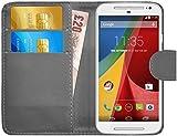 G-Shield Hülle für Motorola Moto G (2.Gen/2014) Klapphülle mit Kartenfach - Grau