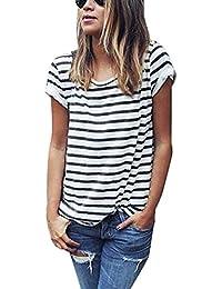 Minetom Cuello Redondo Verano Moda Camiseta Para Mujer Blusa Tops Corta Manga Blanco Negro Raya Blouse Comodidad Transpirable