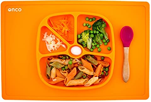 Onco Baby Placemat Two-In-One Silicone Suction Plate & Mat (Orange)