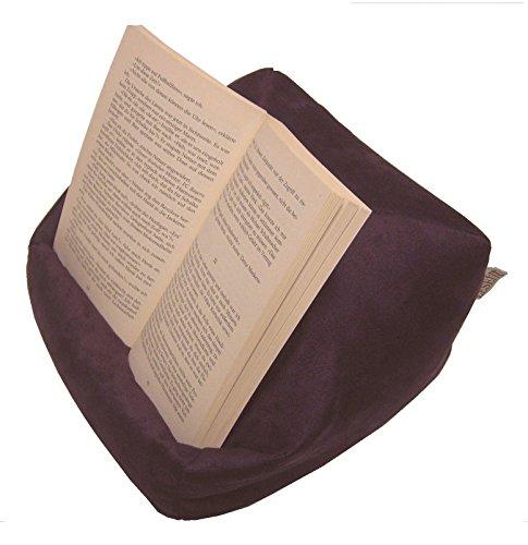Preisvergleich Produktbild LESEfit soft antirutsch Lesekissen, Tablet Kissen, echter Sitzsack für iPad * Buch & eReader (multifunktionale Quader-Form) Wildleder-Imitat – aubergine