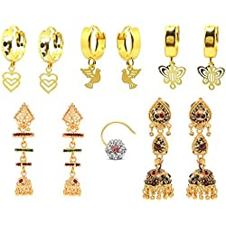 GoldNera Combo of Pretty Traditional 5 earrings and American diamond nose pin for all