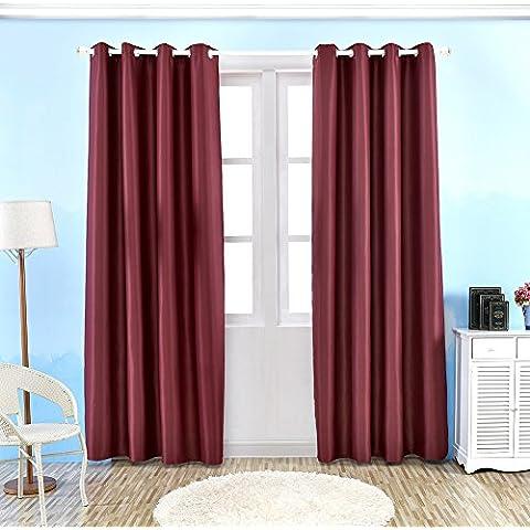 Tende oscuranti, Tenda termica isolante oscurante finestra con occhielli in larghezza Darken Drapes Camera da letto soggiorno 1paio, Red, 130 * 215cm