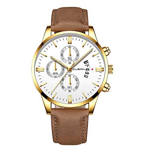 YEARNLY Herren Wasserdicht Armbanduhr Leder Schwarz Weiss Zifferblatt Analog Quarzuhr Herrenuhr,Mode Chronographen,Atmungsaktive Uhrenarmband Verstellbarem Verschluss