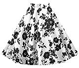 Lylafairy Damen 50er Jahre Art Rock Vintage Rockabilly Swing Faltenrock Knielang Mode Skater Röcke (34, Weiß Schwarz)
