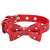 Blueberry Pet Luxuriöses Weihnachtsfest Tupfen Hundehalsband mit Abnehmbarer Fliege, S, Hals 23cm-32cm, Verstellbare Halsbänder für Hunde