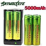 Sannysis 18650 Cargador de batería con 2 ranuras y 4 pcs 18650 5000mAh baterías