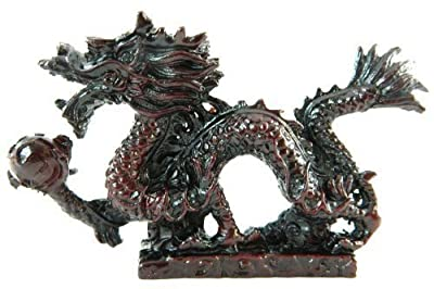 Bordeaux Finished Resin Dragon holding Magic Ball Statue Figurine Ornament DR12