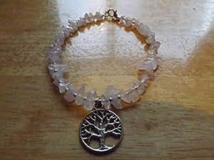 Quartz Rose en éclats d'arbre de vie Bracelet de cheville Charms