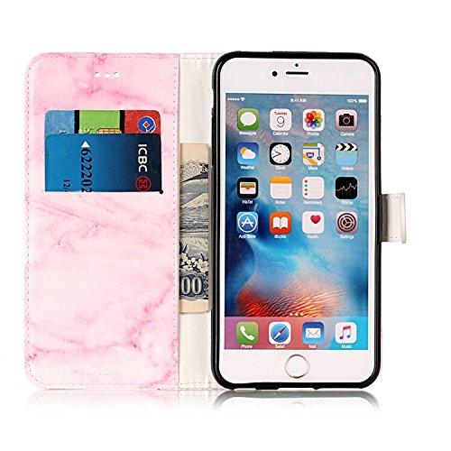 Vandot iPhone 6 Pouces Coque 2 en 1 Housse Motif de Marbre Etui pour iPhone 6S PU Cuir Coque à Rabat Fonction Portefeuille de Carte Slots Support Bouton Magnétique Case Créatif Marble Pattern Housse C Marbre-04