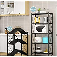 Multi-Shelf Foldable Storage Shelves for Garage Kitchen Home Closet, Metal Wire, Collapsible Organizer Rack on 4'' Wheel Casters, Metal Organizer Wire Rack, Black/White (3-Shelf(Black))