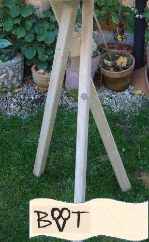 Vogelhausständer xxl, Ständer für Vogelhäuser, groß Dreibein Ständer für Vogel-Futterhäuser Natur Holz unbehandelt - 2