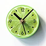 FortuneVin Wanduhren Quartz Küchenuhr Wanduhren Lautlos Wanduhr Schleichende Sekunde ohne Ticken Obst Kaffernlimette Fridge-Clock stilvoll Kreative Garten Kühlschrank Uhr Message-Magnetic Sog Stick Table8.5 * 8.5Cm