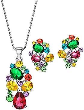 Neoglory Jewellery Silber Schmuckset mit Swarovski® Elements Strass Zirkonia bunt luxus Stil