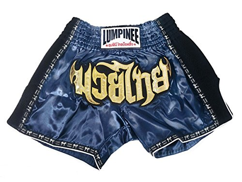 Lumpinee Retro Muay Thai Kick Boxen Hosen Shorts : LUMRTO-003-Navy size S (Twins Muay Thai Shorts)